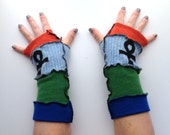 Earth Water Air and Fire Recycled Wool Arm Warmers Fingerless Gloves
