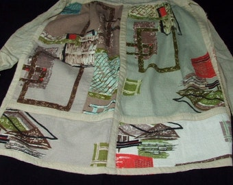 1950's Barkcloth Bark Cloth Half Apron