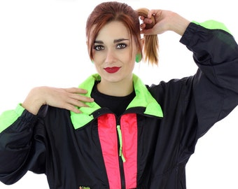 80s Colorblocked Windbreaker Jacket 90s Vintage Black Neon Green Red 1980s 1990s Colorblock Workout Running Surf Unisex Mens Womens Large L