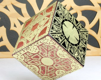 Hellraiser Puzzle Box, Lemarchand's box, Lament Configuration, Richly Stained Wood, Detailed Etched Brass