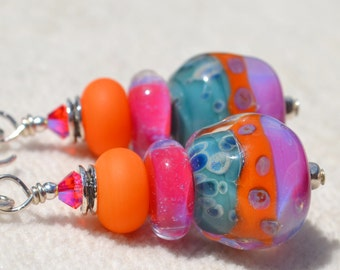 Reserve for Patrice-FOXY LADY-Handmade Lampwork and Sterling Silver Earrings