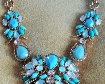 SALE Vintage FASHION Necklace, Mythologie, Statement Necklace,Heart shaped,turquoise color type stones