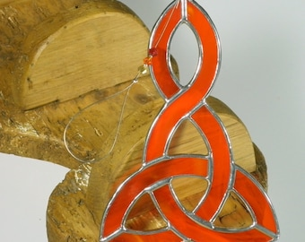 Orange Stained glass Celtic Knot Suncatcher  & Window ornament