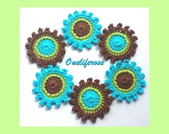 Crochet Flowers 6 pieces turquoise-Green-D Brown