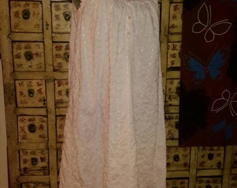 Gown Pink Eyelets Lace Nightgown Small Boudoir Romantic Sleepwear by AntiquesandVaria