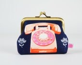 Frame purse - Rotary on navy - Big Aunty / Melody Miller / Cotton and Steel / Trinket / Retro phone in pink and red / vintage style
