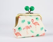 Metal frame coin purse with color bobble - Flamingos and palm trees - Color dad / Korean fabric / peach pink emerald green