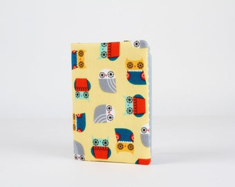 Fabric card holder - Mini owls on yellow / Kawaii fabric / Suzy Ultman / teal blue red grey white