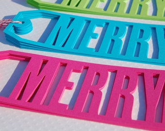 18  christmas gift tags merry hot pink aqua lime green candy cane bakers twine