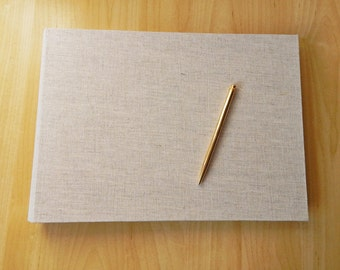 Linen Wedding Album, Guestbook, Large Book in Natural Linen with your choice of cover lining. Custom Made to Order.