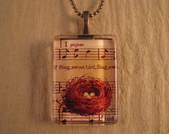 """Musical Bird's Nest Flat Rectangle Glass Pendant with 24"""" Ball Chain Necklace"""