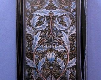 "William Morris ""Artichoke"" Tile Panel Design Large Rectangle Glass Paperweight Home Decor"