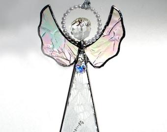 Heirloom Lace Angel -  Swarovski Heart -Stained Glass Holiday Ornament/Suncatcher
