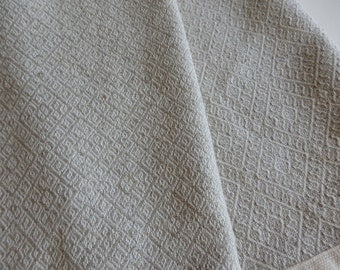 Organic Cotton and Linen Handwoven Towel Natural and Unbleached Beautiful Diamonds