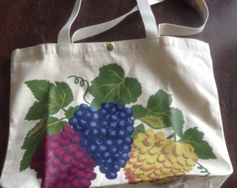 Large Vintage Liz Lauter Designs Tote, 1993, Hand Painted on Canvas, Bunches of Grapes