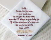 Gift Boxed-First Man I Ever Loved- Gift To Dad From Bride- Embroidered Wedding Handkerchief