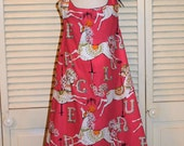 Loose Fitting Swing Dress in Pink with Carousel Horses