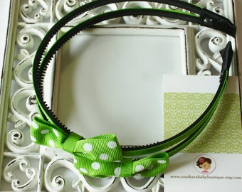 NEW----Hair Bow Doubled U-Shape Headband-----Apple Green with White Dots----