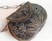 Vintage Cannetille Spun Silver-Alloy Filigree Miniature Purse - Antique Wire Work Rosary Case - Prayer Purse - Chatelaine Item - Antique