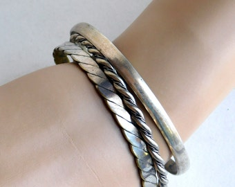 Instant Stack 3 Vintage Silvertone Metal Bangle Bracelets - Faux Silver - Silver Plated and Silver Alloy - One from Mexico - Twisted Braid
