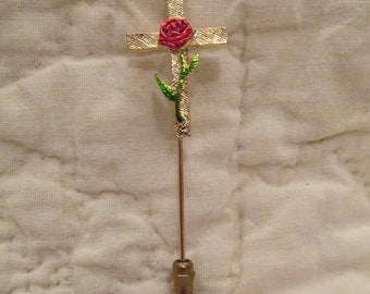 Vintage Stick Pin Cross with Rose