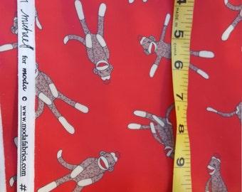 Red Sock Monkey Vinyl Fabric Moda Erin Michael almost 2yd