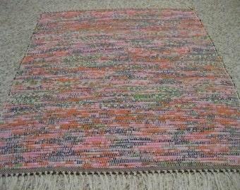Handwoven Green, Pink, Orange, Purple, Multi Rag Rug 25 x 33 (M)