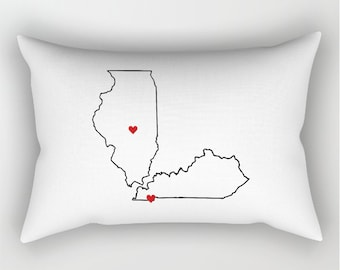 Two States Love Custom Pillow Case, T-Shirt Pillow Case, Standard Pillow Case, Dorm Decor, Dorm Room Decor, Personalized Black + White Decor
