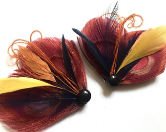 Peacock Shoe Clips - AUTUMN - Red, Golden Yellow, Orange and Navy Blue Peacock Feather Shoe Clips