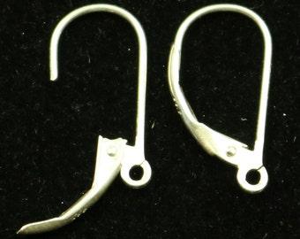 10 Sterling SILVER Leverback Ear Wires Earrings Earwires - 9x17mm 20Gauge 0.8mm Wire - 5 Pair Fish hook ear wire - ss745