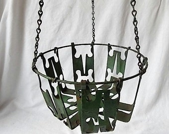 Vintage Shabby Industrial Metal Hanging Plant Basket Chippy Green Paint