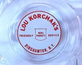 Vintage Mobil Products Binghamton NY Korchak Advertising Ashtray