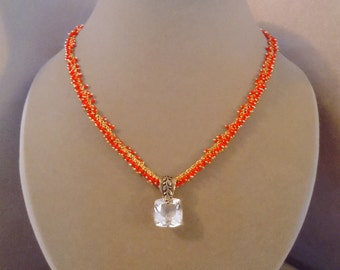 Coral Fire -- One of a Kind -- Ice Crystal Quartz and Red Coral Cluster Chain necklace