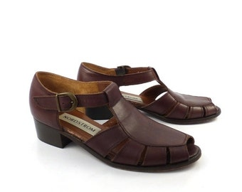 Leather Fisherman Sandals Vintage 1980s Brown Huaraches Nordstrom Women's size 7 N