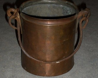 antique hand forged small ash or coal primitive hanging COPPER BUCKET tongue & groove