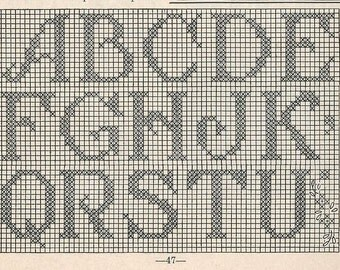 Crochet Initials in Filet Crochet PATTERN 5009 taken from a 1950s Workbasket Initials for Monogramed Linens changed to PDF instant download
