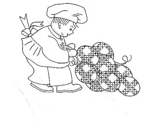 Vtg Embroidery 370 Chefs with Cross Stitich Fruit for Kitchen Dish Towels  in PDF format Instant Download