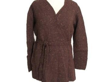 Brown Tweed Sweater, Women Brown Wrap Sweater, Brown Sweater