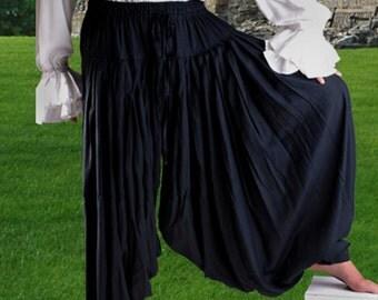 Men's Pants, Pirate Pants, Medevil Pants, Buccaneer Pants, Black Pants, Swashbuckler Pants, Harem Pants, Pirate Wedding Pants, Size XL