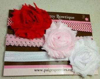 3 PACK Baby Headbands-Newborn Headbands-Toddler Headbands-Shabby Flower Headbands-3 PACK