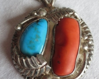 Vintage Native American Necklace Turquoise Coral Sterling Silver Pendant Chain