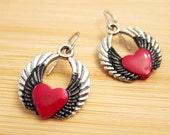 Red Heart on Black and Silver Angel Wings Earrings Hand Painted Enamel
