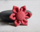 Lapel pin, flower. Mens boutonniere. Men accessories. Coral. Cotton. 31 colors available.