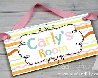 Fancy Stripes Personalized Kids Door Sign Girls Bedroom Nursery Personalized DOOR SIGN Wall Art DS0408