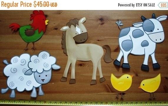 THANK YOU SALE Fabric Wall Decals Set of 6 Farm Animal Barnyard Children's Bedroom Playroom Baby Nursery Kids Wall Art Decals