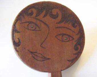 Deco Lady Pyrography Lg Hand Mirror Signed Unique Folk Art Wood Craft