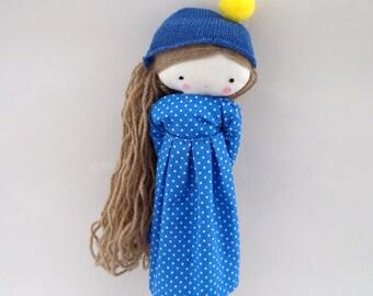 Handmade rag doll , Laia- ooak cloth art rag doll polka dots dress, hat and socks toys for girls