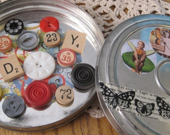Large Vintage Film Reel Tin with 15 Altered Magnets
