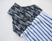 Oven door towel button top towel modern black  and white stripe towel  Quiltsy handmade