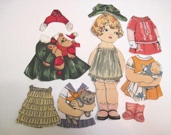 Child's  Fabric Paper Doll playset  travel church toy Original Rare fabric Cindy